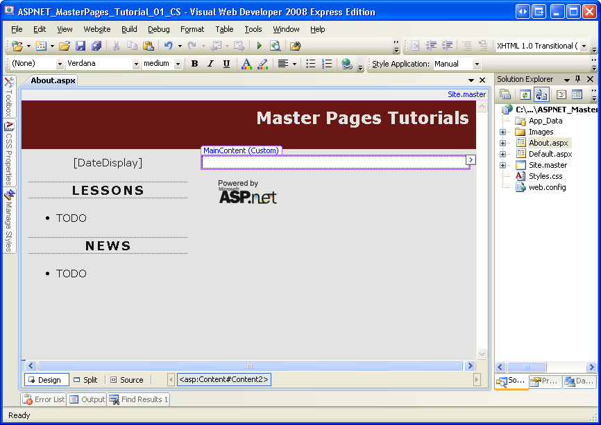 master page asp net with free template - creating a site wide layout using master pages c the