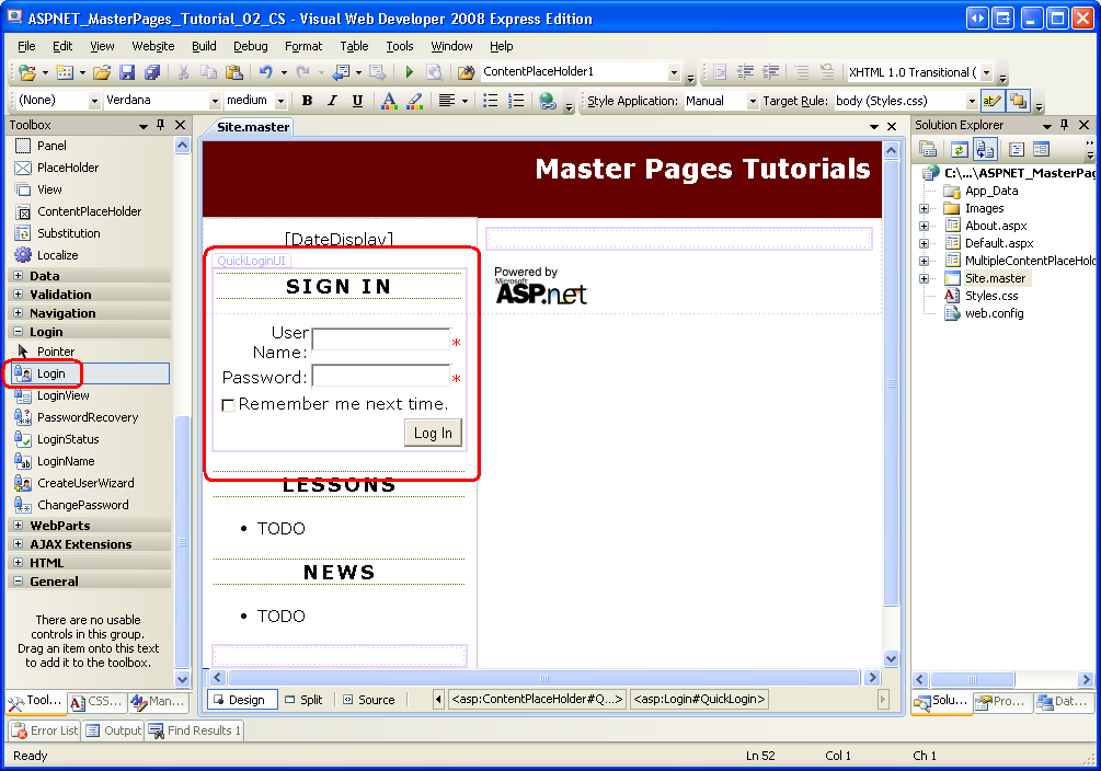 master page asp net with free template - multiple contentplaceholders and default content c