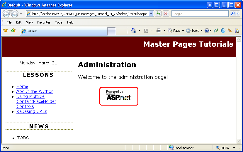 URLs in Master Pages (VB) | The ASP NET Site