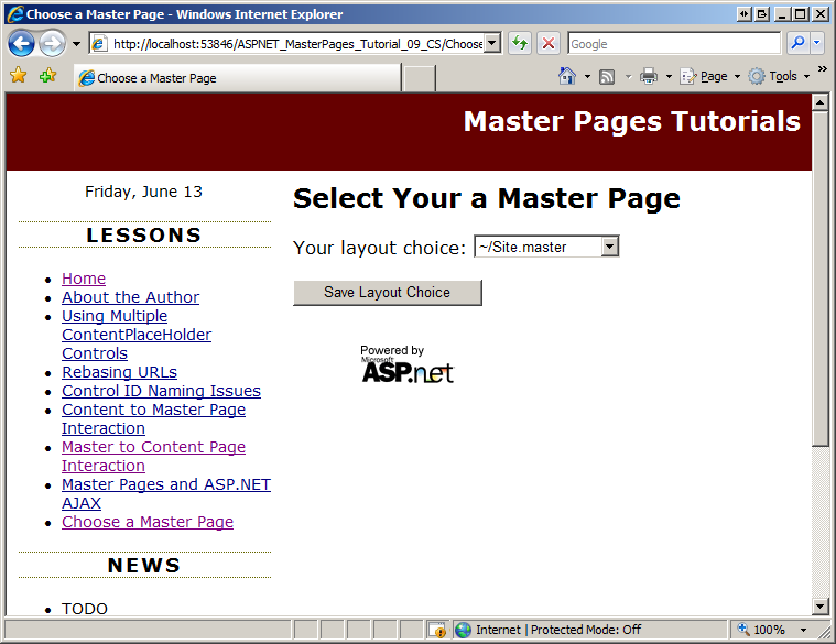 Specifying the master page programmatically c the asp for Asp net master page templates free