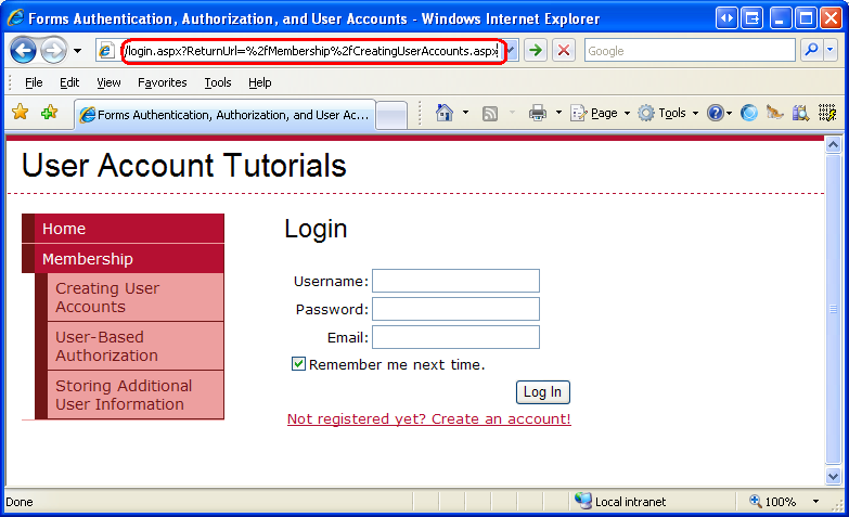 User based authorization c the asp net site - Asp net home page design ...