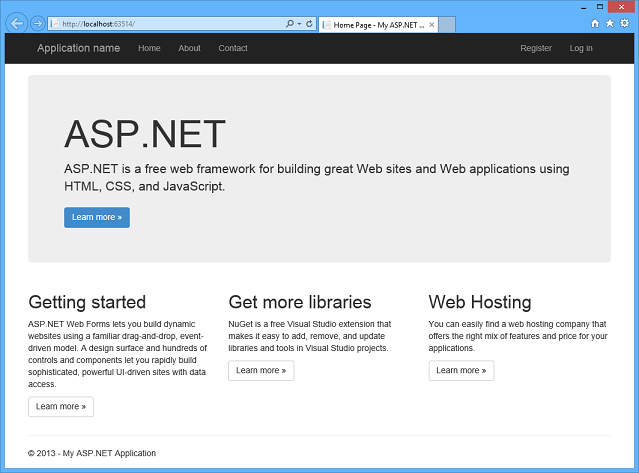 Creating asp net web projects in visual studio 2013 the asp net site - Asp net home page design ...